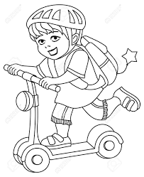 Beautiful coloring pages for kids. A Kid In A Bike Helmet And With A Backpack On His Back Rides Royalty Free Cliparts Vectors And Stock Illustration Image 126199445