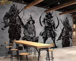 Custom Photo Wallpaper Mural Retro Hand Painted Japanese Samurai
