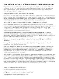 Prepositions British Council Preposition And Postposition