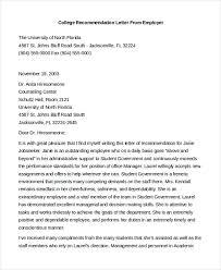 Letter Of Recommendation From Employer To College Recommendation Letter For Student From Employer Rome