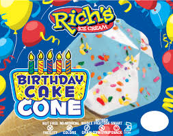 Birthday Cake Cone Richs Ice Cream