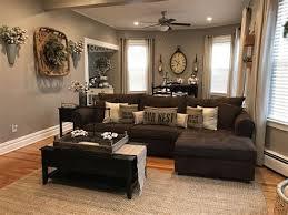 living room design with dark brown