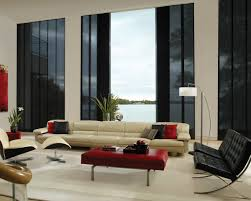 modern living room black and red. Long Leather Sofa Design And Modern Living Room Interior Idea Featured Black Barcelona Chairs Plus Red I