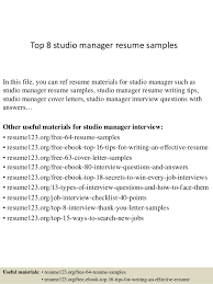 Events Manager Resume Sample Best of Top 24 Studio Manager Resume Samples