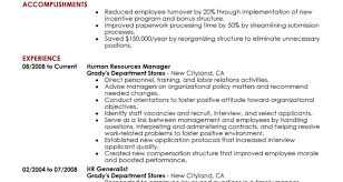 Human Resources Resume Examples Hr Manager And Compensation