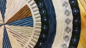 h 723 pinwheel black 5 round hand hooked wool rug