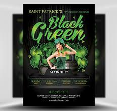 Green Party Flyer St Patricks Day Black Green Party Flyer Flyerheroes