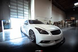 infiniti g37 white with black rims. infiniti g37 coupe bagged on ace alloy wheel driven d716 aftermarket wheels white with black rims i