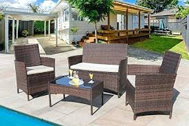 4 pieces outdoor patio furniture sets clearance rattan chair wicker indoor set with umbrella wic