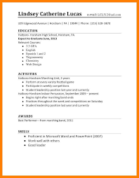 Student Cv Template For First Job 7 High School Student Job Resume Format Management On Call