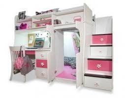 Girls white loft bed with desk 1