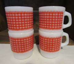 4 vintage fire king anchor hocking red gingham plaid milk glass coffee mug cup