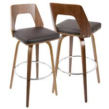 lumisource trilogy walnut and brown midcentury modern barstool mid century modern bar stools n17