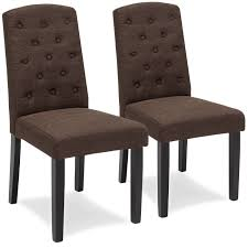 best choice s set of 2 fabric home furniture tufted parsons dining chairs espresso 0