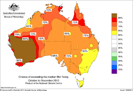 probability of exceeding median minimum temperature - click on the map for  a larger version of