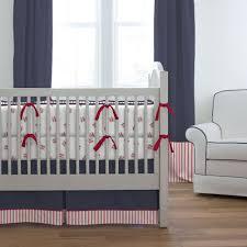 red and navy baseball crib bedding