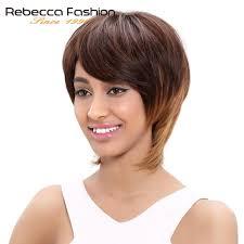 Rebecca Braziliaanse Steil Haar Korte Rechte Remy Human Hair Bruin Blond Pruiken Voor Vrouwen Bruin Ombre Haar Pruik Kleur 4 3027
