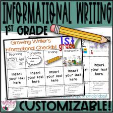 Informational Writing First Grade Writing Checklist