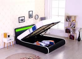 Ottoman Bedroom Storage Espirit Led Designer Bed Gas Lift Storage Ottoman Faux Leather