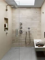 Inspiration for a modern beige tile and porcelain tile porcelain floor and  gray floor bathroom remodel