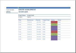 Group Assignment To Do List Template For Excel Word Document Templates