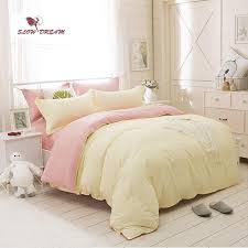 slowdream pale yellow and pink solid bedding set comforter duvet cover active printing set bed linen home textiles multi sizes