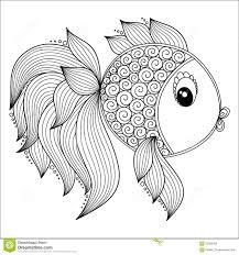 Pattern For Coloring Book Cute Cartoon Fish Stock Vector