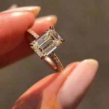 Carat Size Chart Emerald Cut 2 50 Carat Emerald Cut Moissanite Solitaire With Accent Engagement Ring 14k Rose Gold