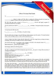 Offer To Purchase Real Estate Form Free Printable Offer To Purchase Real Estate Legal Forms Free 1