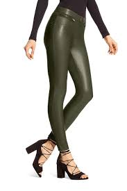 hue womens faux leather leggings shadow olive xs 98 for