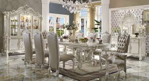 white rectangular dining table. Versailles Bone White Rectangular Dining Table Set