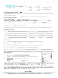 Credit Account Application Form Template Free Wholesale Templates