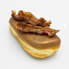 image of a bacon maple bar doughnut a bar shaped raised yeast doughnut dipped