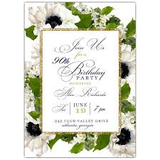 90 Birthday Party Invitations Floral Garden Border 90th Birthday Party Invites