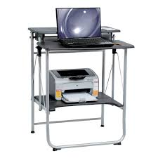 modern collapsible computer desk with shelving for printer designed etra unit