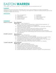 Resume For Room Attendant Room Attendant Resume Example Examples Of