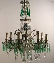 vintage crystal chandelier with green crystal pendants 1