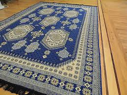 blue kilim reversible cotton area rug 6x9 geometric design