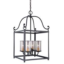 feiss declaration 4 light antique forged iron pendant