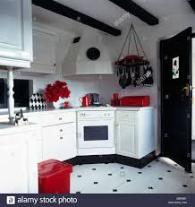 Red And White Kitchens Red Accessories In Black And White Kitchen With Black White Vinyl