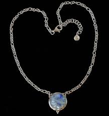 handcrafted sterling silver moonstone necklace with rainbow moonstone