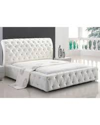American Eagle White Leather Jeweled Button Tufted Platform Bed ...