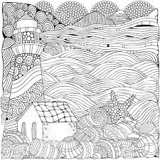 Small Picture Lighthouse And Shells Seascape Coloring Book Page For Adult stock