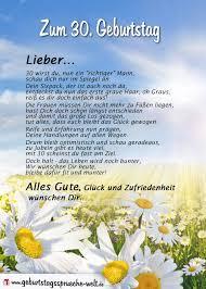 Gedicht Zum 30 Geburtstag Für Ihn Geburtstagssprüche Welt