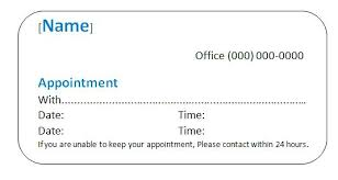 Appointment Cards Template Word Appointment Reminder Template Word Apvat Info