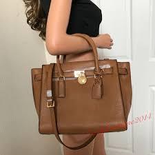 michael kors hamilton traveler large brown leather shoulder handbag bag purse