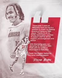 Nebraska cornhuskers guard dalano banton is widely considered one of the most intriguing prospects participating at the g league elite camp. Dalano Banton Declaring For Nba Draft While Maintaining Eligibility To Return To Nebraska Huskers