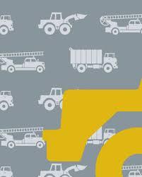 Behang Autos Met Graafmachine Grijs Tinklecherry
