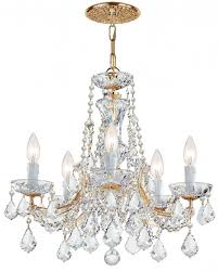 5 lights gold plated maria theresa chandelier