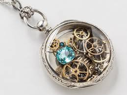 steampunk necklace sterling silver pocket watch movement case with gears gold bee charm blue topaz crystal locket